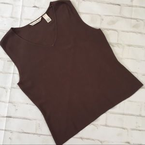 French Laundry V-Neck Sleeveless Ribbed Knit EUC